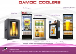 "In combination with transparent display technology this innovative digital cooler replaces the entire conventional front door glass with a transparent Digital LCD Display assembly. The transparent LCD allows for clear viewing of product through the glass, while simultaneously having the ability to run Full HD content in a ""see-thru"" manner in front of the product. The DAMOC™ Cooler is truly a turn-key solution with all required technology and hardware included."